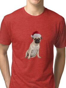 Pug Dog Santa Claus Merry Christmas Tri-blend T-Shirt