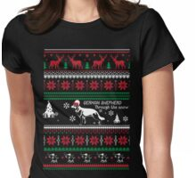 German shepherd christmas through the snow Womens Fitted T-Shirt