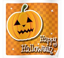 Happy Halloween card with pumpkin Poster