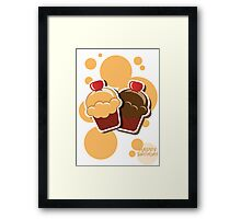 Cup cake happy birthday card with bubbles Framed Print