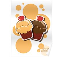 Cup cake happy birthday card with bubbles Poster