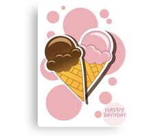 Ice cream happy birthday card with bubbles Canvas Print