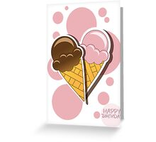 Ice cream happy birthday card with bubbles Greeting Card