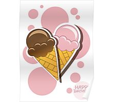 Ice cream happy birthday card with bubbles Poster