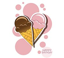 Ice cream happy birthday card with bubbles Photographic Print
