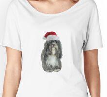 Tibetan Terrier Santa Claus Merry Christmas Women's Relaxed Fit T-Shirt