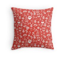 Red and White Christmas Pattern Throw Pillow