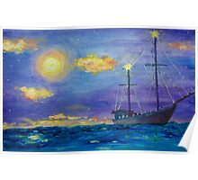 Single Boat On Moonlit Waters Poster