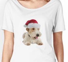 Wire Fox Terrier Santa Claus Merry Christmas Women's Relaxed Fit T-Shirt
