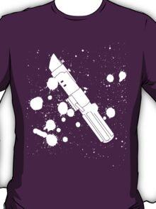 Darth Vader Lightsaber Paint Splatter (Black and White) T-Shirt
