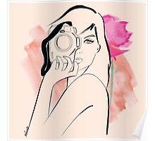 watercolour photographer girl Poster