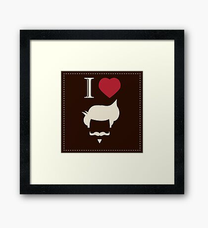 I love vintage hipster mustache and hair style Framed Print
