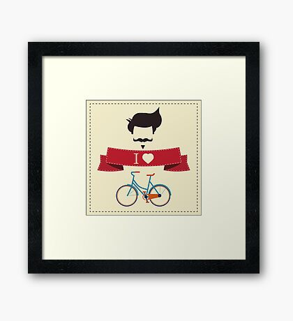 I love hipster vintage hair style, mustache and bicycle Framed Print