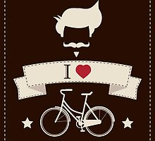 I love hipster vintage hair style, mustache and bicycle by BlueLela