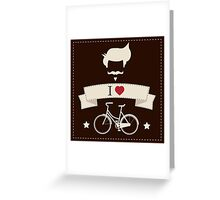 I love hipster vintage hair style, mustache and bicycle Greeting Card