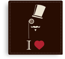 Gentleman hipster card with monocles and a hat Canvas Print