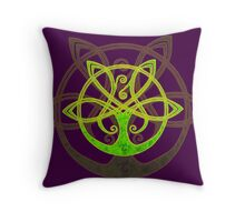 Tree of Life - Green - gold border Throw Pillow