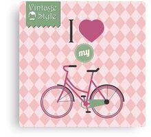 Vintage bicycle background Canvas Print