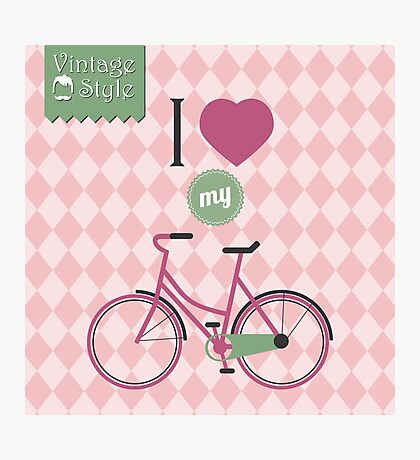 Vintage bicycle background Photographic Print