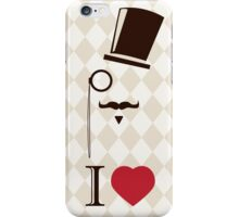 Vintage card with top hat, monocle and mustache iPhone Case/Skin