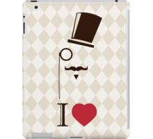 Vintage card with top hat, monocle and mustache iPad Case/Skin