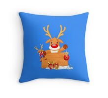 Reindeer Holding Christmas Ornaments with Gift Boxes Throw Pillow