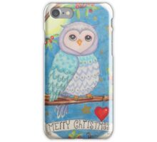 Colorful cute Little christmas forest owl iPhone Case/Skin