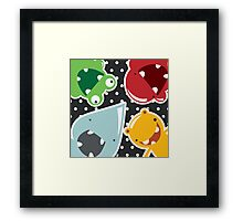 Background with cute colorful monsters Framed Print