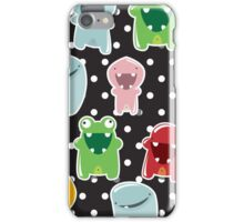 Background with cute colorful monsters iPhone Case/Skin