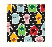 Background with cute colorful monsters Art Print