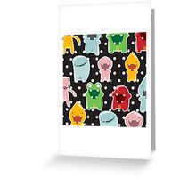 Background with cute colorful monsters Greeting Card