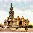 A digital painting of the Town Hall, Portsmouth, England in the 19th century by Dennis Melling