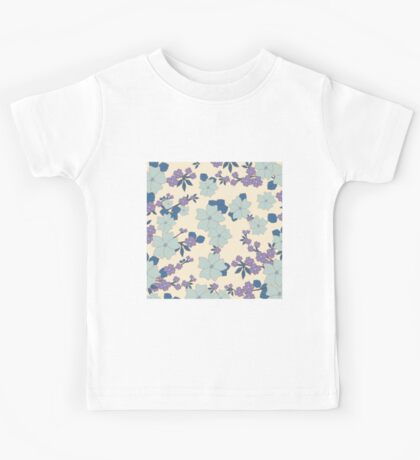 vintage,retro,floral pattern,shabby chic,pattern,country chic,roses,flowers,turqouise background,purple,white,modern,trendy,girly,mint, Kids Tee