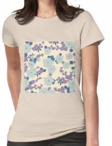 vintage,retro,floral pattern,shabby chic,pattern,country chic,roses,flowers,turqouise background,purple,white,modern,trendy,girly,mint, Womens Fitted T-Shirt