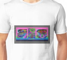 Black and Purple background triptych  040 23 10  Unisex T-Shirt