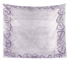 modern, silver,candy hearts, purple,trendy,love,valentine,cute, Wall Tapestry