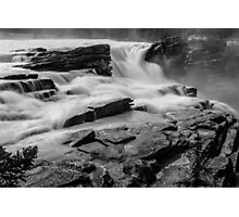 The Athabasca Falls in Black & White Photographic Print