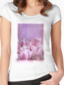Violet Tulip Watercolor Wash Women's Fitted Scoop T-Shirt