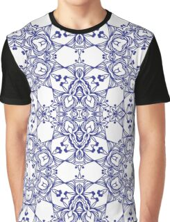 Abstract geometric pattern with blue arabesque ornament Graphic T-Shirt