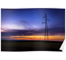 Power Lines During Twilight Poster