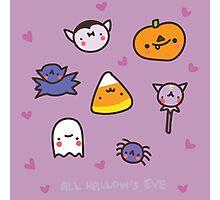 Halloweenie Kawaii Purple Doodle Pattern Design Photographic Print