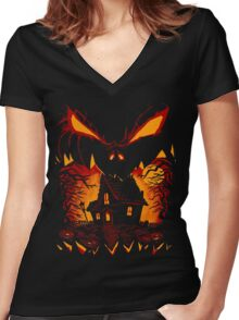 Halloween Scary Face Women's Fitted V-Neck T-Shirt