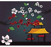 Japanese card with cherry blossom, sakura and traditional Japanese elements Photographic Print