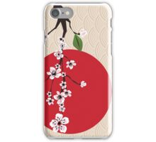 Japanese card with cherry blossom, sakura and traditional Japanese elements iPhone Case/Skin