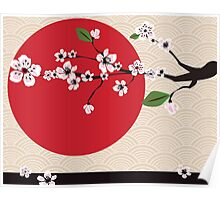 Japanese card with cherry blossom, sakura and traditional Japanese elements Poster