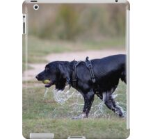 A very wet dog after collecting a tennis ball from a pond iPad Case/Skin