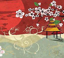 Traditional Japanese landscape by BlueLela