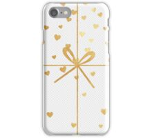 christmas,gold,ribbon,hearts,modern,trendy,tiny dots, white,cute iPhone Case/Skin