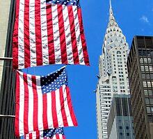 Stars and Stripes at Chrysler, New York City  by Alberto  DeJesus