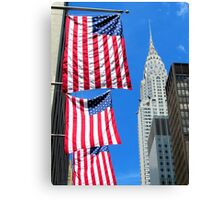 Stars and Stripes at Chrysler, New York City  Canvas Print